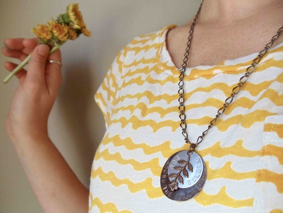 wildflowers necklace // hand stamped jewelry // silver and brass