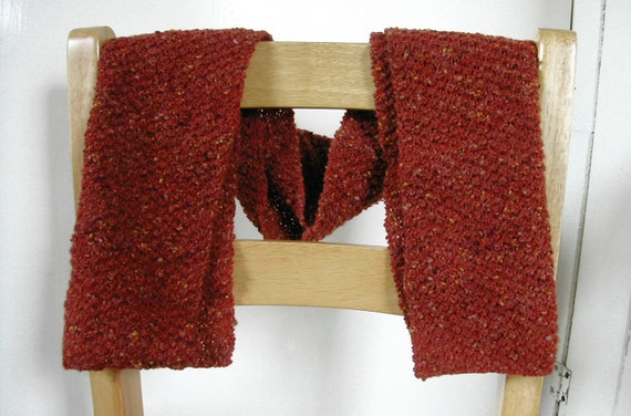 simple red hand knitted scarf, tanbark pattern, brick red scarf