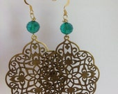Handmade Earrings, Handcrafted Jewelry, Brass Filigree, Teal Green,  Gold Earrings, Emerald Earrings