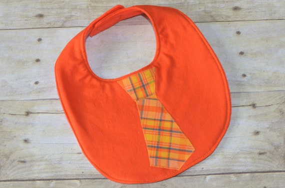 Orange Baby Bib with Plaid Tie