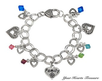 Personalized Family/Mom Swarovski Birthstone Bracelet (Made to Order)