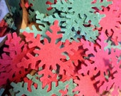 Set of 150 Red & Green Snowflakes Confetti Embellishment