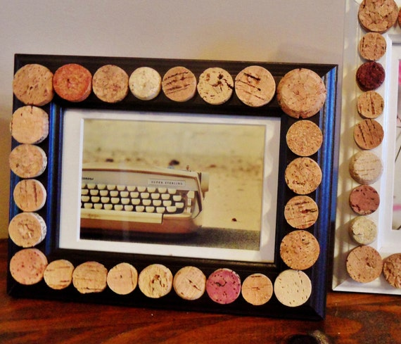Black Wine Cork Picture Frame by ScatteredTreasures on Etsy