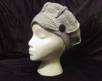 Newsboy Adult Crochet Gray Hat with Button Accent