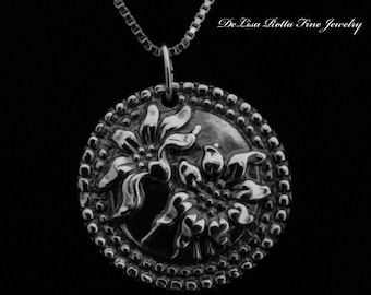 Recycled Silver Antiqued Sun Flower Pendant Necklace