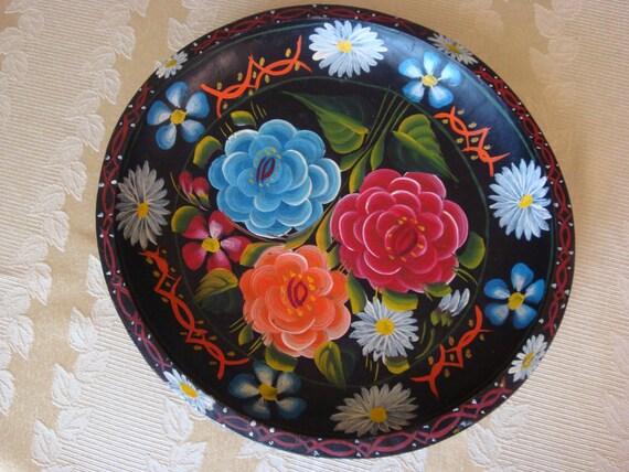 Vintage Hand Painted Mexican Batea Bowl
