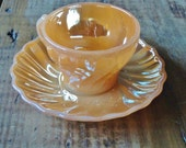 Vintage Anchor Hocking Fire King, Cup and Saucer Set, Demitasse Iridscent Peach Lustre, Swirl Design, Kitchen Collectible