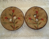 Handpainted Wooden Earrings,Stud  Handmade  Button coconut