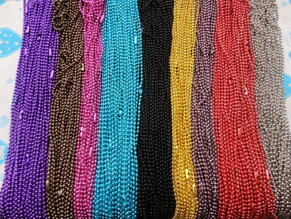 34pcs 27 inch 2.4mm assorted color (17colors) ball necklace chain with matching connector