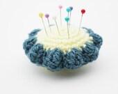 Pincushion flower - crochet pincushion - blue and yellow pincushion