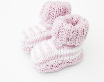 Handknit baby booties - baby girl booties - pink stripes shoes