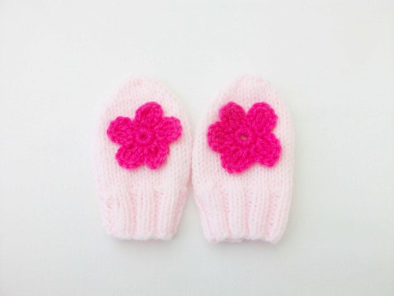 Knitted pink flower mittens - baby girl mittens -6-9 months gloves