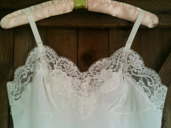 "Vintage Sears ""The Doesn't Slip"" White Knee Length Full Slip with Beautiful Lace Trim"