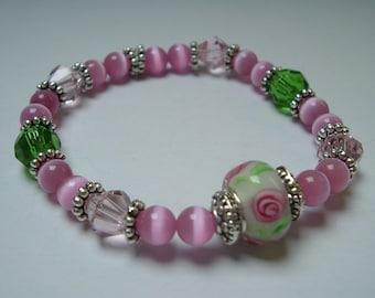 Pink Lady Beaded Stretch Bracelet