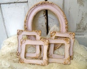 Vintage pink frame grouping shabby chic French provincial five piece set Anita Spero