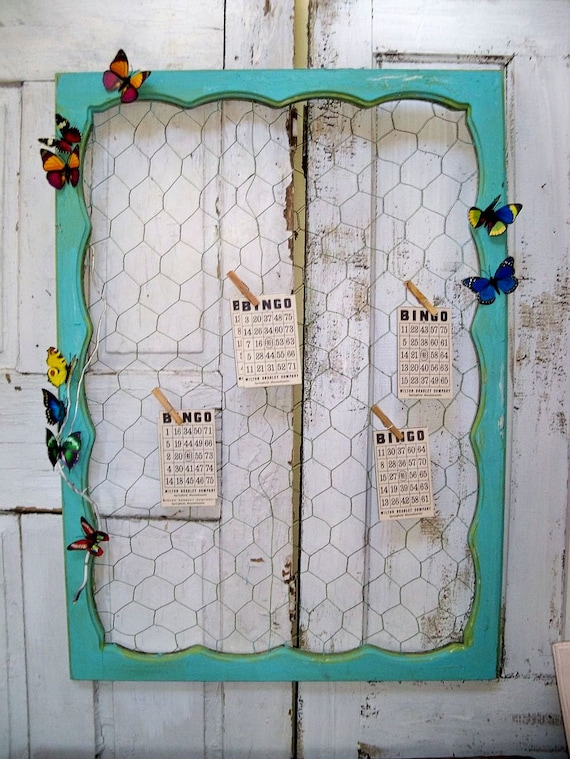 Large chicken wire message board recycled ornate wood window frame office organizer Anita Spero