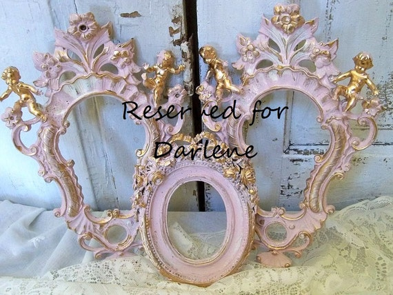 Reserved for Darlene Parag Shabby cottage pink ornate frame grouping cherub angel wall decor with touch of gold Anita Spero