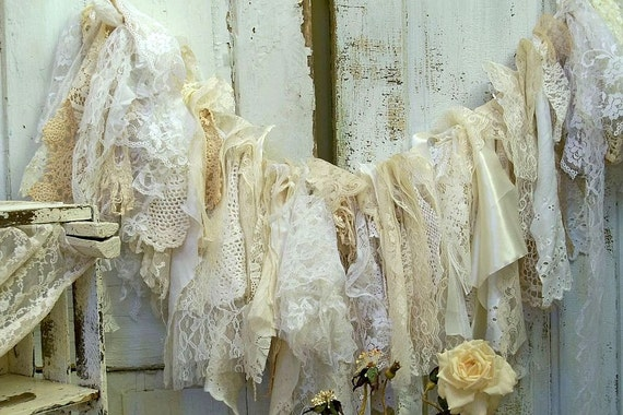 shabby chic home decor fabric shabby chic fabric garland wall hanging lace 13053