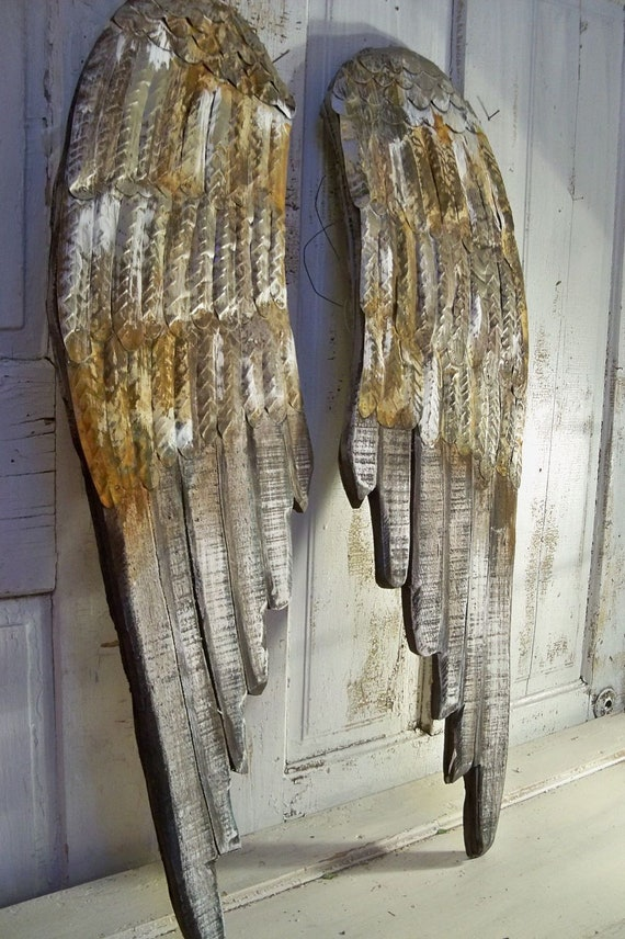Angel wings large wood carved wall sculpture pewter rusty