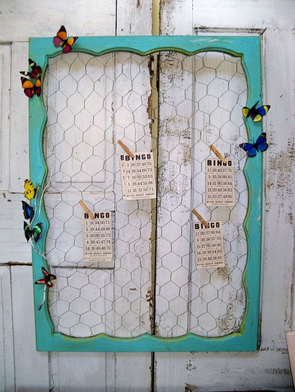 Large Chicken Wire Message Board Recycled Ornate Wood Window