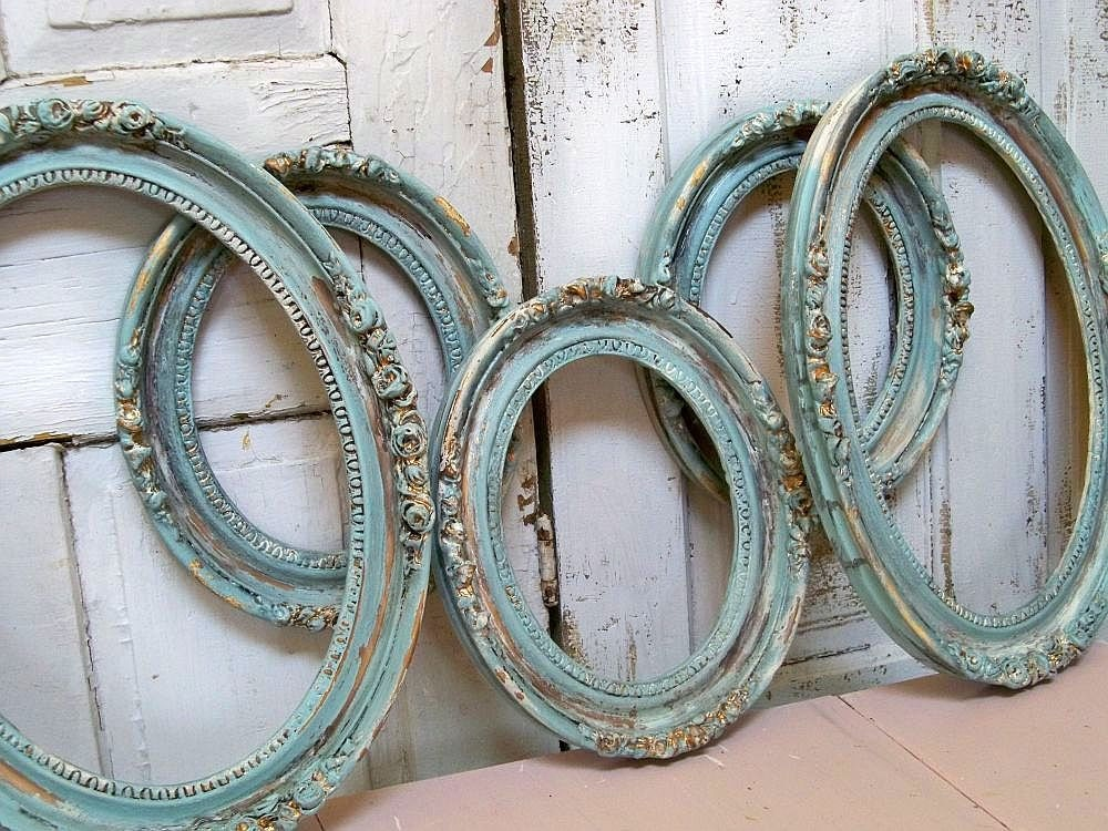 Vintage Wood Oval Frame Grouping Sea Green Blue Cottage