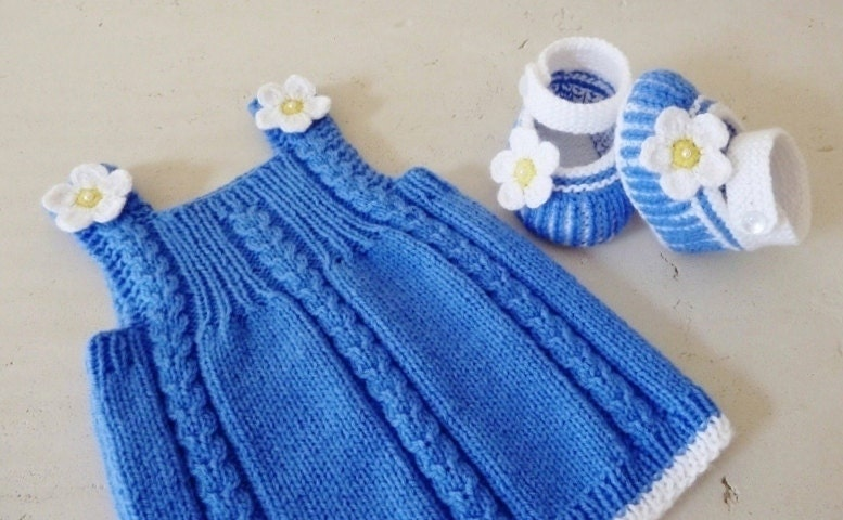 Knitting Patterns For Baby Fancy Dress : Hand Knitted BABY DRESS DAISY in Blue and White