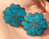 Signed ETM Vintage Heart Shaped Flower Taxco Silver and Turquoise Earrings