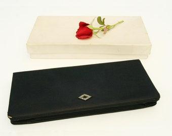 Vintage 1960s clutch, black silk and marcasite stones decoration, mirror and original box