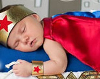 Baby Wonder Woman Costume - Baby Halloween Costume - Super Hero Baby - Girl Halloween Costume - Newborn Photo Prop - Wonder Woman - Dress Up