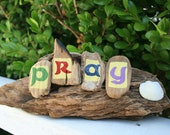 PRAY Driftwood Art with Bright Natural Green, Maroon, Navy Blue, Lavender and shell accessory (Made to Order)