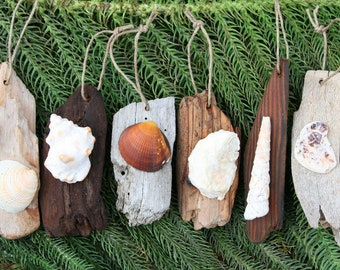 Set of 6 Driftwood & Shell Christmas/Holiday Ornaments: Gift for Her, Gift for Him, Custom Ornament, Shabby Chic Holiday, ships quickly!