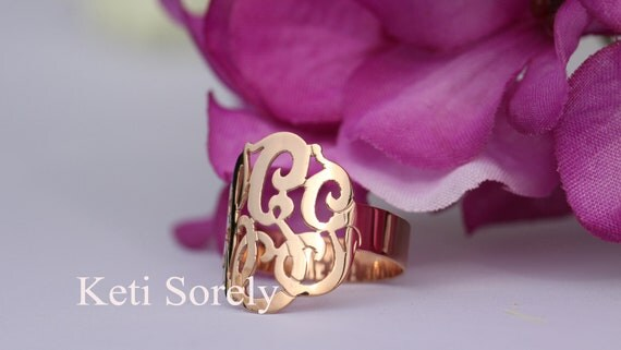 Designer Personalized Initials Ring (Order Any Name) - 10K/14K Rose Gold, 14K GoldFilled or Sterling Silver and Rose Gold overlay.