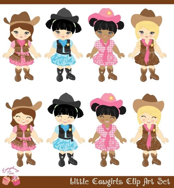 Cute little Cowgirls Pink Jeans Clip Art Set by ...