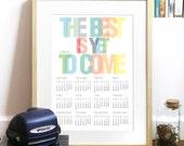 2013 Calendar Poster Typography Art Print rainbow colors - carpe diem through all 2013 year - A3 Calendar Poster art print - carpe diem
