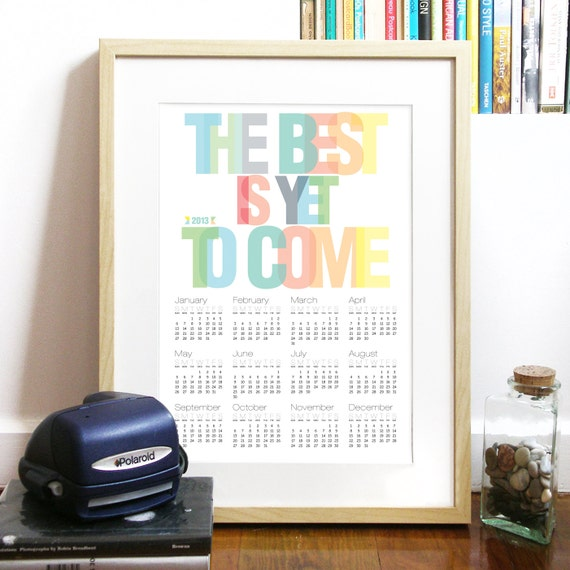 2013 Calendar Poster Typography Art Print rainbow colors - carpe diem through all 2013 year - A3 Calendar Poster art print - carpe diem