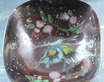 Miniature Abstract Asian Cloisonné Dish