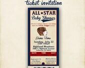 ALL STAR Baby Shower 4x8 Invitation Ticket - Printable DIY