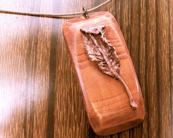wood jewelry wooden pendant with leaf nature inspired