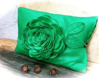 Flower felt pillow in green rustic home decor