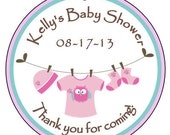 "Personalized 2"" round ""Baby Girl Clothesline"" Baby Shower favor tags with ribbon- set of 12"