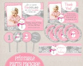 Winter ONEderland Girly Snowman Pink & Grey Printable Birthday Party Package
