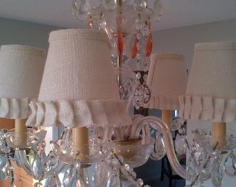 Ruffled burlap chandalier lampshades clip cream 5 shades