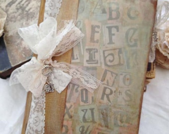 Wedding Guest book - I love you alphabetically theme - vintage style - 36 pages