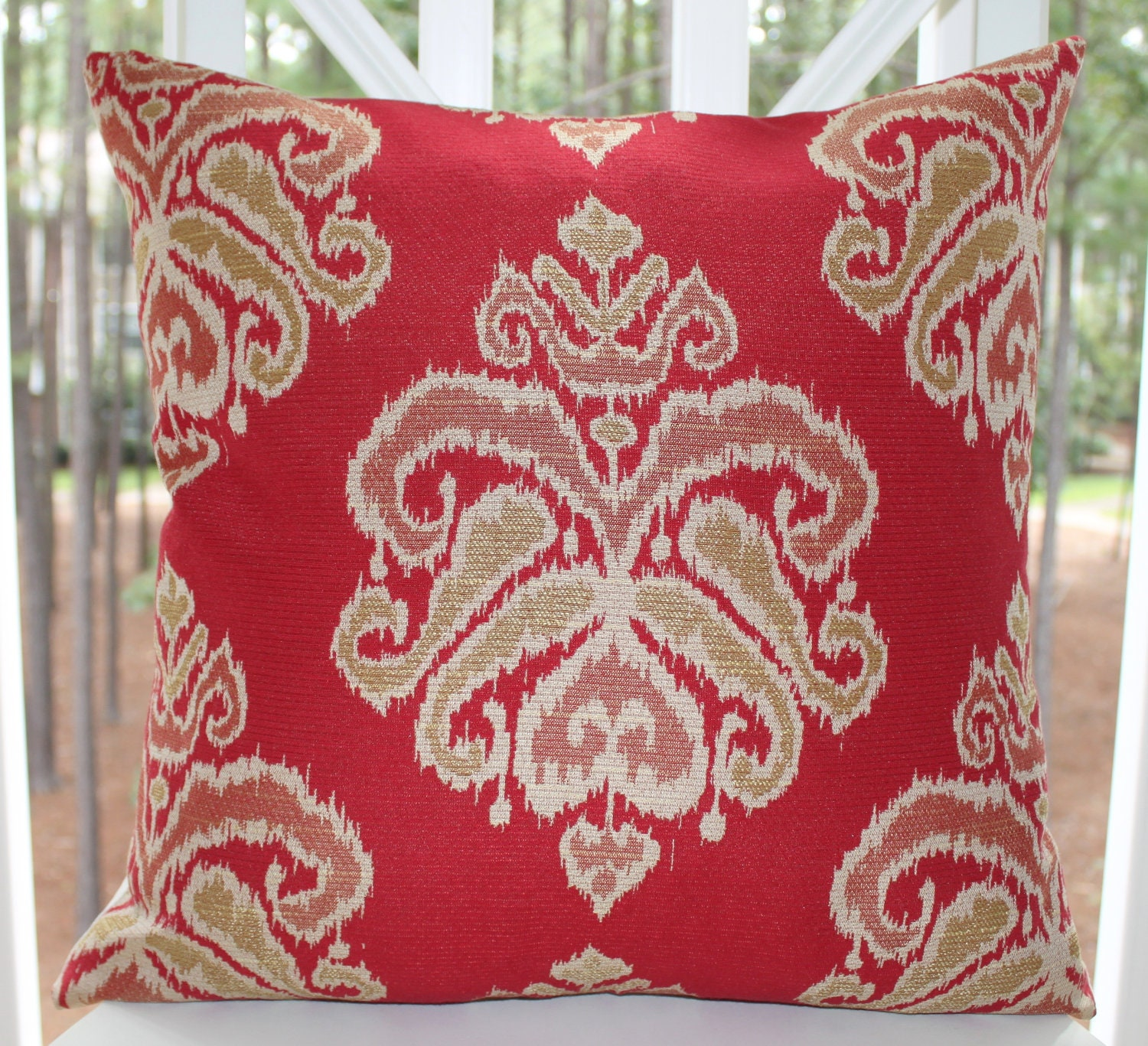 Decorative Red Pillow Red Ikat Pillow Red Damask Scroll