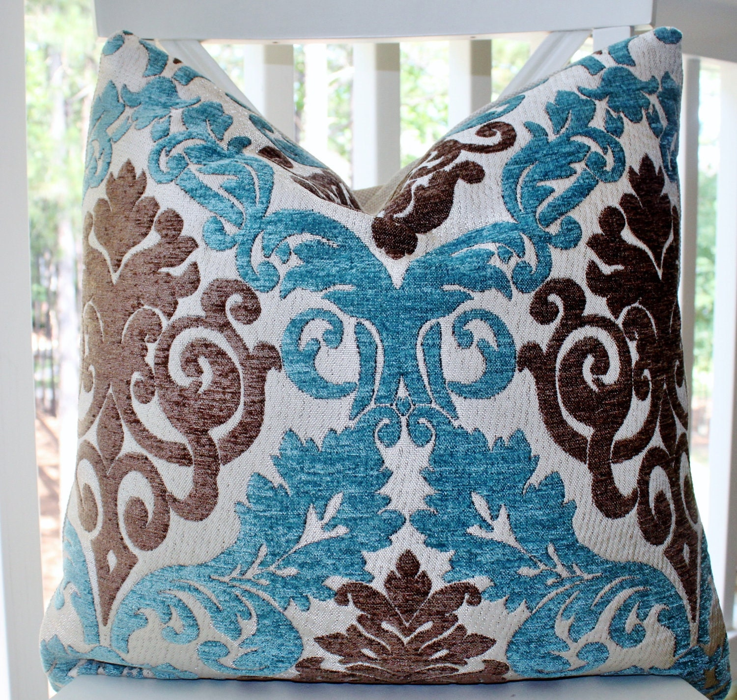 Decorative Pillow Cover Blue Brown Silver Paisley Damask