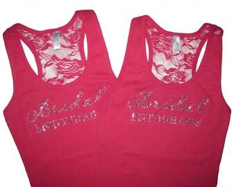 2 Bridesmaid Lace Tank Tops, Bridesmaid Gifts, Bridesmaid Shirts, Bachelorette Party Shirts, Wedding Tank Tops, Bride Tank Top, Bride Shirt