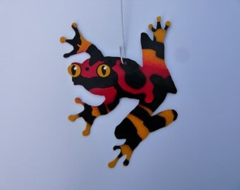 Metal Red and Yellow Treefrog Ornament