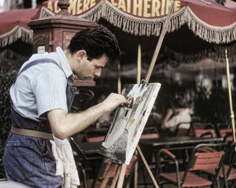 Montmarte Painter, Vintage Paris Scene from Original Negative 10x8