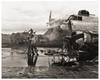 Historical WWII Photo, B-17 Flying Fortress on Fire from Original Negative