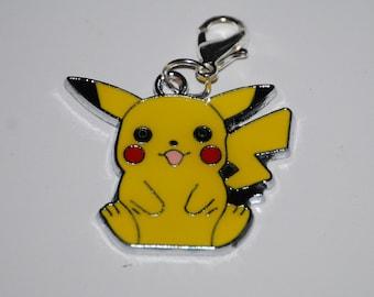 Pokemon Pikachu Enamel Clip Charm, zipper pull, backpack, cell phone, purse clip, bracelet, necklace or scrapbooking